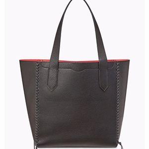 Medium Panama Black Leather Tote